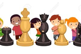 Preview 35170213 illustration of kids hugging giant chess pieces